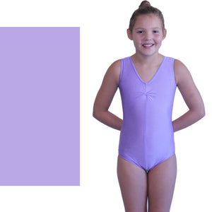 LOUISE - SLEEVELESS GATHERED FRONT LEOTARD - SUBTLE COLOURS Dancewear Dancers World Lilac 00 (Age 2-4)