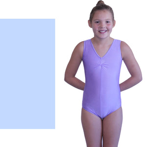 LOUISE - SLEEVELESS GATHERED FRONT LEOTARD - SUBTLE COLOURS Dancewear Dancers World Pale Blue 00 (Age 2-4)