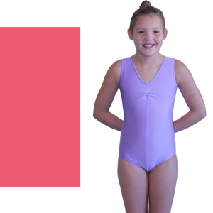 LOUISE - SLEEVELESS GATHERED FRONT LEOTARD - SUBTLE COLOURS Dancewear Dancers World Rose Pink 00 (Age 2-4)