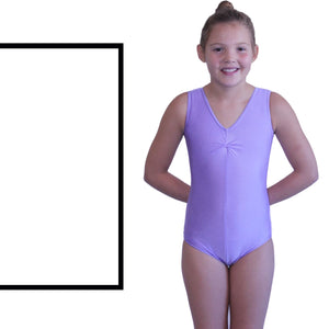 LOUISE - SLEEVELESS GATHERED FRONT LEOTARD - SUBTLE COLOURS Dancewear Dancers World White 00 (Age 2-4)