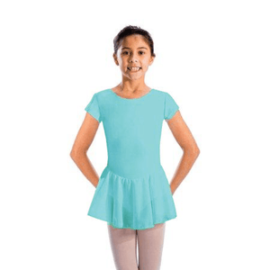 MAISIE - CAP SLEEVE SKIRTED LEOTARD Dancewear Dancers World Aqua 00 (Age 2-4)