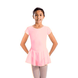 MAISIE - CAP SLEEVE SKIRTED LEOTARD Dancewear Dancers World Pale Pink 00 (Age 2-4)