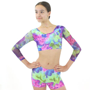 MEADOW - THREE-QUARTER MESH SLEEVE CROP TOP Dancewear Click Dancewear