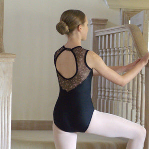 MEGAN - BLACK SWEETHEART SLEEVELESS LEOTARD WITH FLORAL MESH OPEN BACK Dancewear Click Dancewear