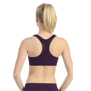 PADDED MESH BACK DOUBLE LAYERED SPORTS BRA TOP Dancewear Kurve