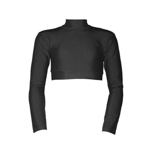 PAIGE - LONG SLEEVE POLO NECK CROP TOP Dancewear Dancers World