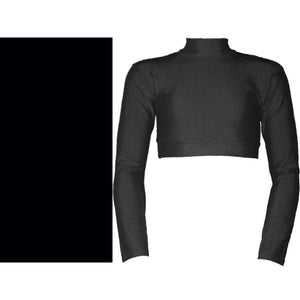 PAIGE - LONG SLEEVE POLO NECK CROP TOP Dancewear Dancers World Black 00 (Age 2-4)