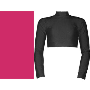 PAIGE - LONG SLEEVE POLO NECK CROP TOP Dancewear Dancers World Cerise 00 (Age 2-4)