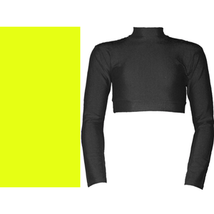 PAIGE - LONG SLEEVE POLO NECK CROP TOP Dancewear Dancers World Fluorescent Yellow 00 (Age 2-4)