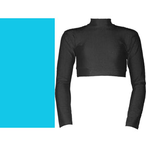 PAIGE - LONG SLEEVE POLO NECK CROP TOP Dancewear Dancers World Kingfisher 00 (Age 2-4)
