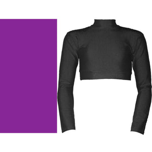 PAIGE - LONG SLEEVE POLO NECK CROP TOP Dancewear Dancers World Purple 00 (Age 2-4)