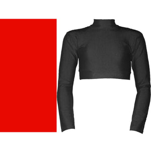 PAIGE - LONG SLEEVE POLO NECK CROP TOP Dancewear Dancers World Red 00 (Age 2-4)