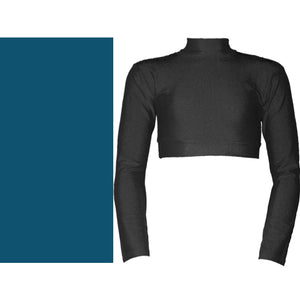 PAIGE - LONG SLEEVE POLO NECK CROP TOP Dancewear Dancers World Teal 00 (Age 2-4)