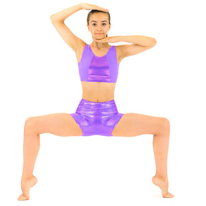 PAULA - LILAC SLEEVELESS CROP TOP WITH SHINE PANEL Dancewear Dancers World