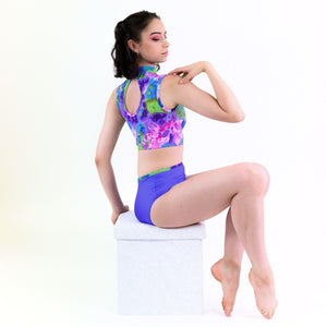 POSY - SLEEVELESS POLO NECK CROP TOP WITH NET PANEL Dancewear Click Dancewear