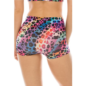 RAINBOW LEOPARD PRINT & SEQUIN STRETCHY BOY SHORTS Dancewear Kurve