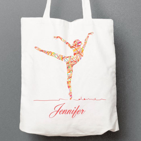 RIBBON BALLERINA - PLAIN OR PERSONALISED TOTE BAG Tote Bag Personally Printed