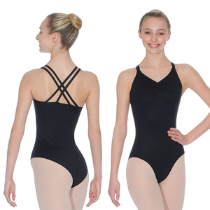 ROCH VALLEY ADAGE DOUBLE CROSS-OVER STRAP CAMISOLE MICROFIBRE LEOTARD Dancewear Roch Valley Black 1B (Age 7-8)