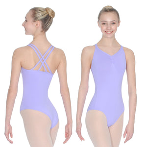ROCH VALLEY ADAGE DOUBLE CROSS-OVER STRAP CAMISOLE MICROFIBRE LEOTARD Dancewear Roch Valley Lilac 3A (Age 11-13)