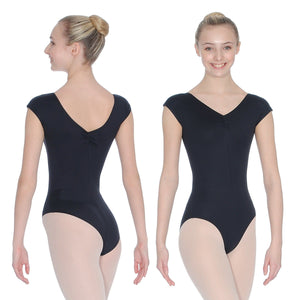 ROCH VALLEY ARIOSO CAP SLEEVE MICROFIBRE LEOTARD WITH A RUCHE FRONT & BACK Dancewear Roch Valley Black 1 (Age 5-6)
