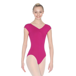 ROCH VALLEY ARIOSO CAP SLEEVE MICROFIBRE LEOTARD WITH A RUCHE FRONT & BACK Dancewear Roch Valley Burgundy 1 (Age 5-6)