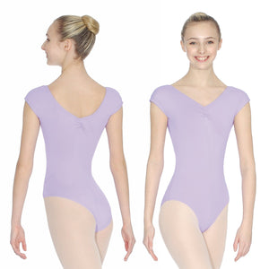 ROCH VALLEY ARIOSO CAP SLEEVE MICROFIBRE LEOTARD WITH A RUCHE FRONT & BACK Dancewear Roch Valley Lilac 1 (Age 5-6)