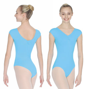 ROCH VALLEY ARIOSO CAP SLEEVE MICROFIBRE LEOTARD WITH A RUCHE FRONT & BACK Dancewear Roch Valley Marine 1 (Age 5-6)