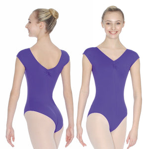 ROCH VALLEY ARIOSO CAP SLEEVE MICROFIBRE LEOTARD WITH A RUCHE FRONT & BACK Dancewear Roch Valley Purple 1 (Age 5-6)