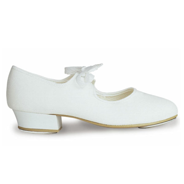 ROCH VALLEY CANVAS TAP SHOES WITH FITTED HEEL & TOE TAPS Dance Shoes Roch Valley White Junior 5