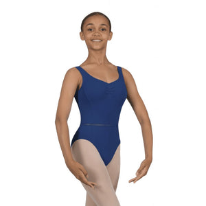 ROCH VALLEY ELIZABETH MICROFIBRE RUCHE FRONT SLEEVELESS LEOTARD Dancewear Roch Valley Navy Blue 3A (Age 11-13)
