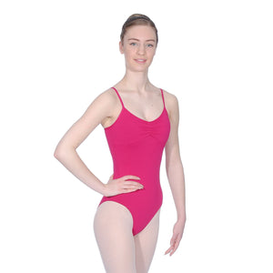 ROCH VALLEY MARGOT MICROFIBRE CAMISOLE LEOTARD WITH A PLEATED FRONT Dancewear Roch Valley Burgundy 2 (Age 9-10)