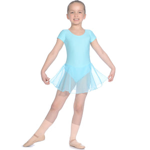 ROCH VALLEY MATT LYCRA SKIRTED LEOTARD WITH ATTACHED SKIRT RV2383 Dancewear Roch Valley Aqua 0 (Age 3-4)