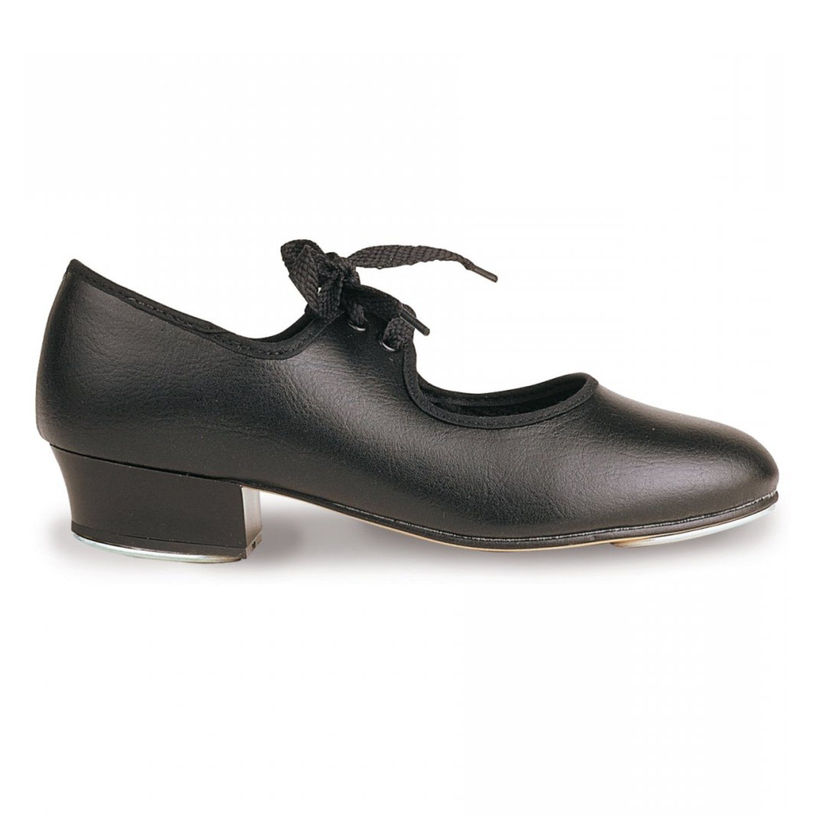 BLACK LEATHER OXFORD CUBAN HEEL TAP SHOES NO TOE TAPS FITTED