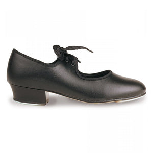 ROCH VALLEY PU TAP SHOES WITH FITTED HEEL & TOE TAPS Dance Shoes Roch Valley Black Junior 5