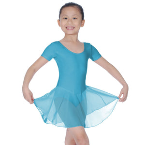 ROCH VALLEY REBECCA COTTON SHORT SLEEVE SKIRTED LEOTARD Dancewear Roch Valley Aqua Blue 0 (Age 3-4)