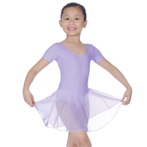 ROCH VALLEY REBECCA COTTON SHORT SLEEVE SKIRTED LEOTARD Dancewear Roch Valley Lilac 0 (Age 3-4)