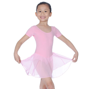 ROCH VALLEY REBECCA COTTON SHORT SLEEVE SKIRTED LEOTARD Dancewear Roch Valley Pink 0 (Age 3-4)