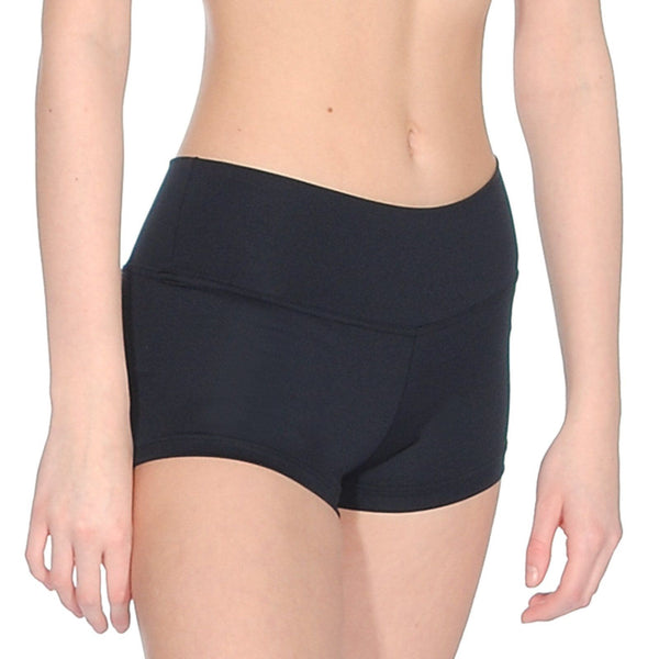 ROCH VALLEY RVTEMPO BLACK MICROFIBRE MICRO SHORTS - SIZE 1 (AGE 5-6) Dancewear Roch Valley Black 1 (Age 5-6)