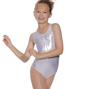 ROCH VALLEY SILVER SHINY METALLIC SLEEVELESS LEOTARD WITH FRONT GATHER - SIZE 3A Dancewear Roch Valley