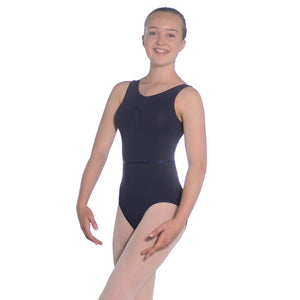 ROCH VALLEY SLEEVELESS COTTON GATHERED BUST EXAM LEOTARD Dancewear Roch Valley Navy 3A (Age 11-13)