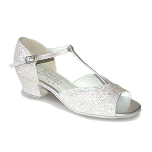 ROCH VALLEY STACEY BALLROOM SHOES - CUBAN HEEL Dance Shoes Roch Valley Silver Hologram Junior 13