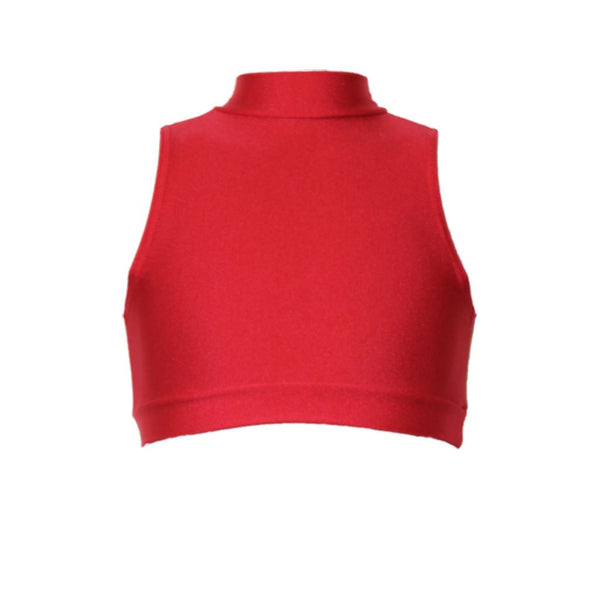 ROSIE - SLEEVELESS POLO NECK CROP TOP Dancewear Dancers World Red 00 (Age 2-4)