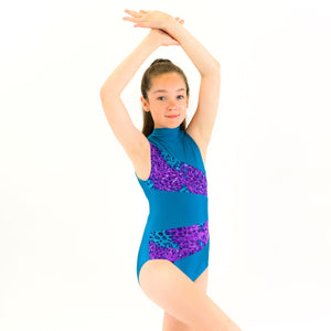SAMPLE KENDRA - PANELLED POLO NECK LEOTARD Dancewear Click Dancewear