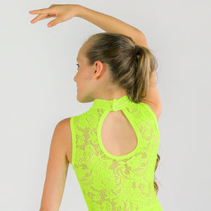 SAMPLE MACIE - FLUORESCENT LACE SLEEVELESS POLO NECK LEOTARD Dancewear Click Dancewear Fluorescent Yellow 1 (Age 6-8)