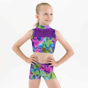 SAMPLE POSY - SLEEVELESS POLO NECK CROP TOP WITH NET PANEL Dancewear Click Dancewear