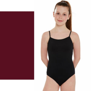 SERENA - PLAIN FRONT CAMISOLE LEOTARD Dancewear Dancers World Burgundy 0 (Age 4-6)