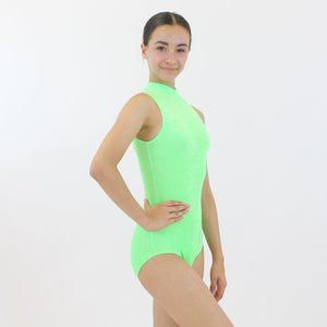 SHARON - VELOUR SLEEVELESS POLO NECK LEOTARD IN BRIGHT COLOURS Dancewear Dancers World