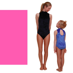 SHARON - VELOUR SLEEVELESS POLO NECK LEOTARD IN BRIGHT COLOURS Dancewear Dancers World Fluorescent Pink Velour 00 (Age 2-4)