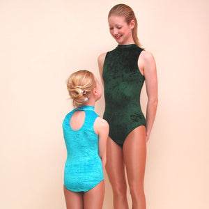 SHARON - VELOUR SLEEVELESS POLO NECK LEOTARD IN DEEP COLOURS Dancewear Dancers World