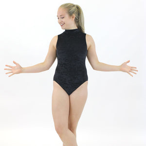 SHARON - VELOUR SLEEVELESS POLO NECK LEOTARD IN DEEP COLOURS Dancewear Dancers World Black Velour 00 (Age 2-4)